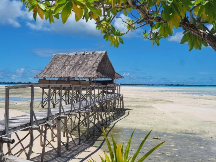 Kiribati egyik bájos vendégháza, amiben mindössze egy matrac van
