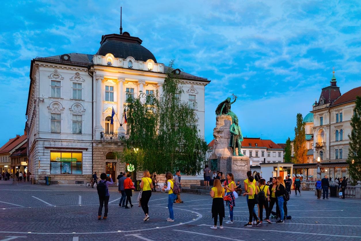 A Presernov trg Ljubljanában