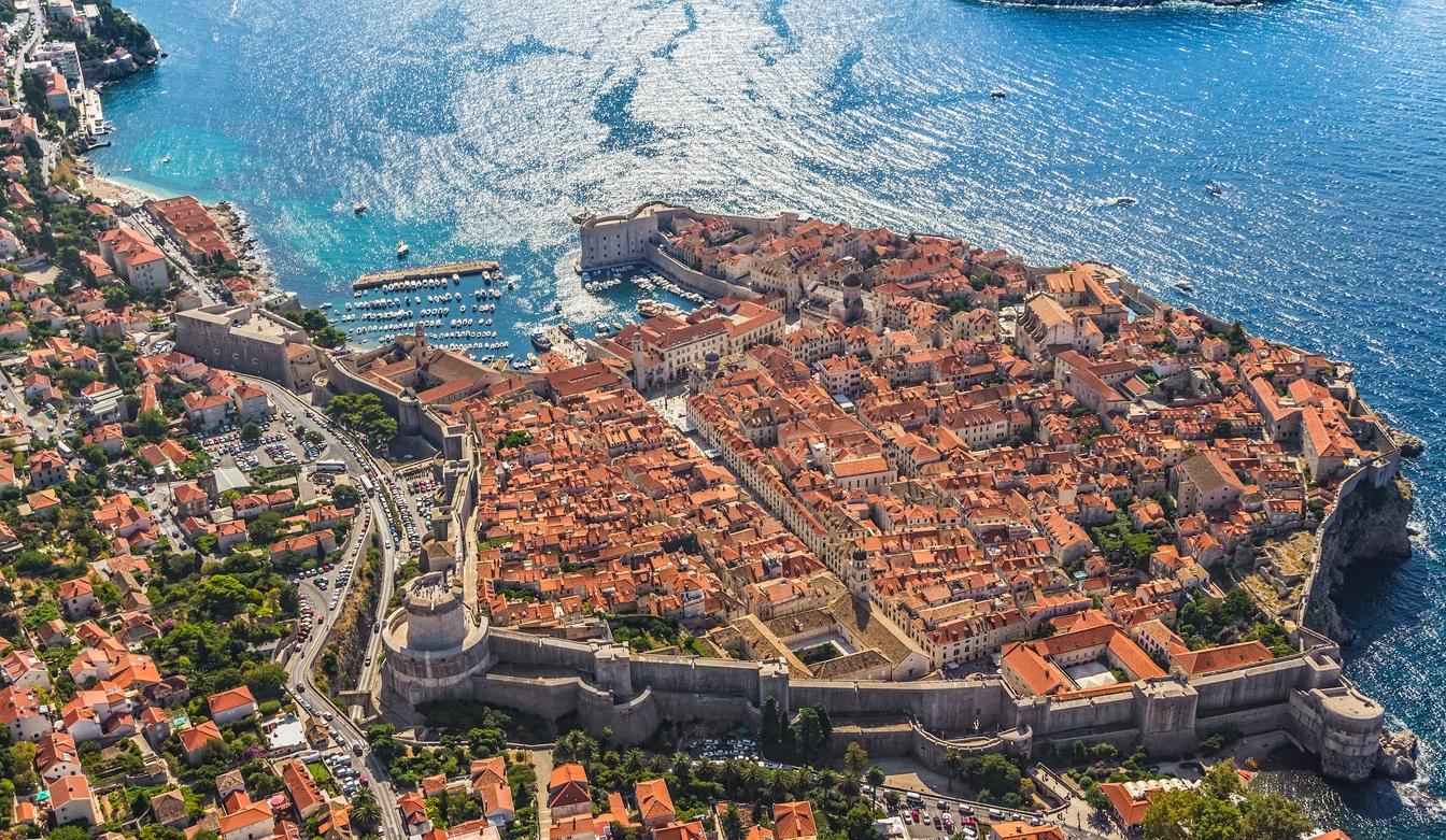 Légi felvétel Dubrovnikról.