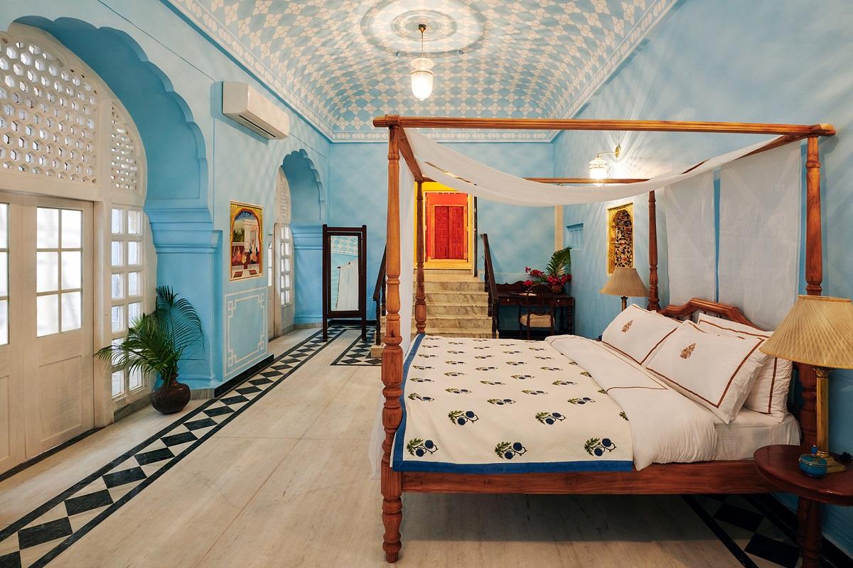 A dzsaipuri City Palace India egy szobája.