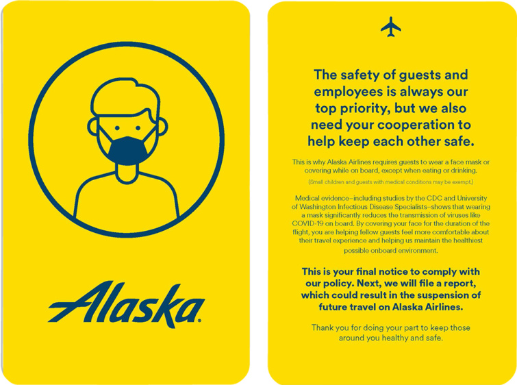 Alaska Airlines sárga lap