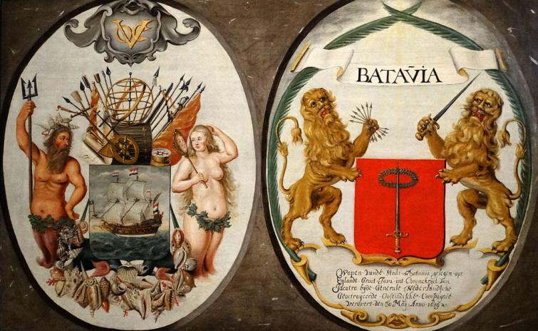 A Holland Kelet-Indiai Társaság és Batávia címere a 17. századból.