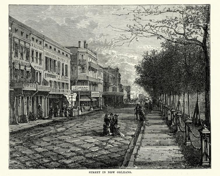New Orleans-i utcakép a 19. századból.