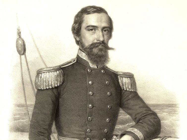 Xántus János az USA haditengerészetének tiszti egyenruhájában