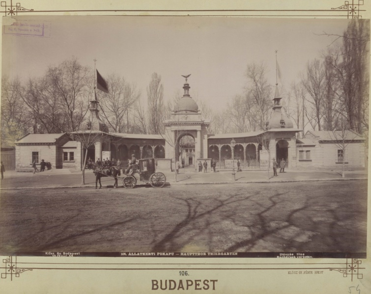Az Állatkert Városliget felőli bejárata 1890-1900 körül.
