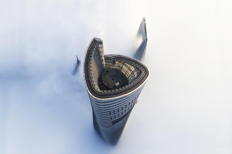 A Shanghai Tower épülete Kínában.