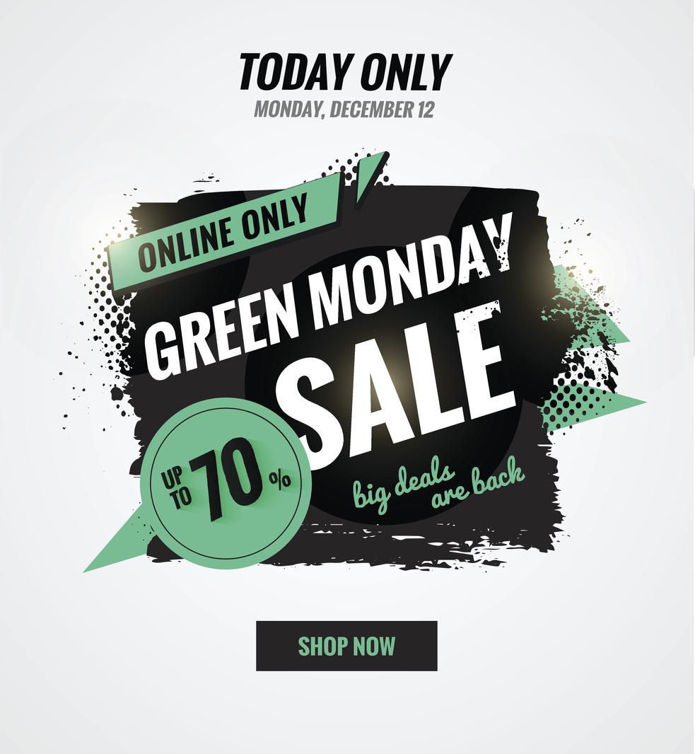 Green Monday akciót hirdető plakát.